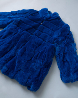 Mini Elaina Rabbit Fur Coat in Royal Blue for Kids