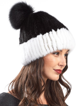 Mink Cuffed Beanie With Fox Fur Pom Pom
