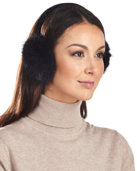 Mink Earmuffs with Velvet Band in Black