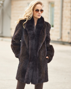 Olivia Textured Mink Stroller Coat with Fox Tuxedo Collar