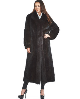 Olivia Mink Full Length Coat with Fox Fur Tuxedo Collar