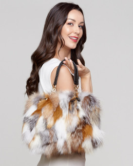 Monroe Fox Fur Handbag in Harvest