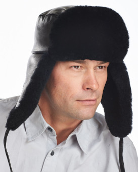 Mouton Sheepskin Russian Military Hat for Men