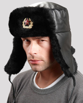 Sheepskin & Leather Russian Military Hat with Badge