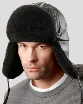 Black Mouton Sheepskin Trapper Hat for Men