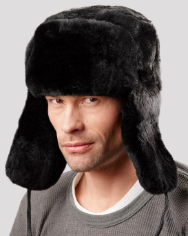 Black Mouton Sheepskin Full Fur Russian Hat