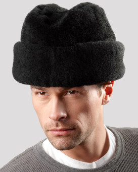 Black Mouton Sheepskin Russian Cossack Hat for Men