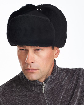 Black Mouton Sheepskin Russian Ushanka Hat for Men