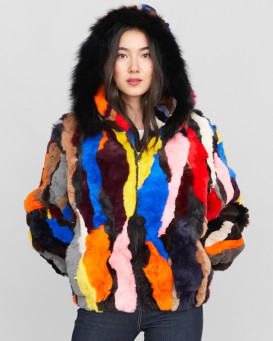 Sarah Multi Color Rabbit Fur Bomber Jacket with Hood