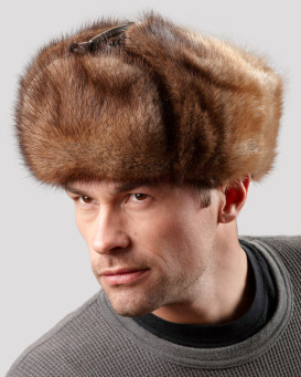Muskrat Full Fur Russian Hat for Men