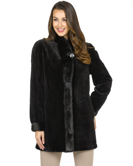 Naomi Sheared Mink Reversible Coat with Collar