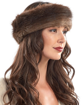 Natural Brown Beaver Fur Headband