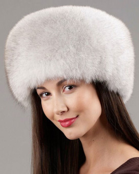 Natural Blue Fox All Fur Zhivago Pill Box Fur Hat
