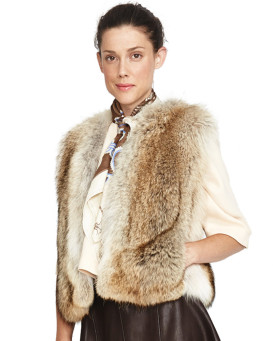Victoria Natural Coyote Fur Cropped Vest