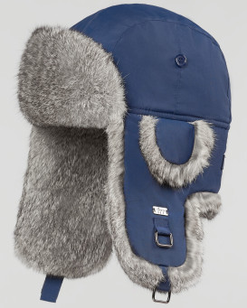 73df51bc2dd62d Navy B-52 Aviator Hat with Grey Rabbit Fur for Men