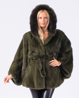 Nettie Mink Fur Cape in Khaki with Sable Fur Hood
