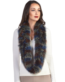 Nia Multicolored Fox Fur Infinity Scarf