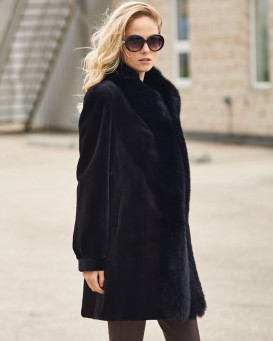 Nola Reversible Sheared Mink Fur Coat with Fox Trim in Black