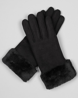North Ice Shearling Sheepskin Gloves in Black