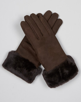 Gants North Ice en peau de mouton en brun