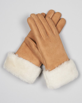 North Ice Shearling Sheepskin Gloves in Camel