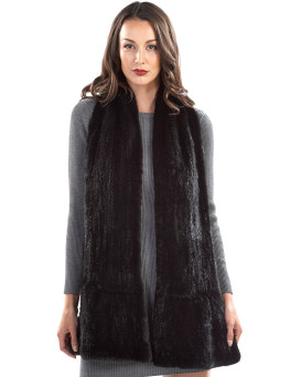 Nyla Flared Knit Mink Fur Scarf in Black