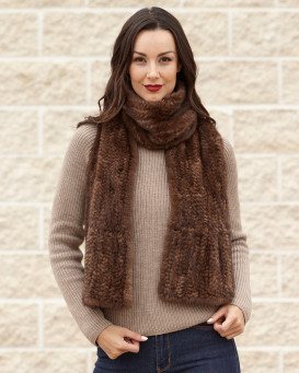 Nyla Flared Knit Mink Fur Scarf in Demibuff