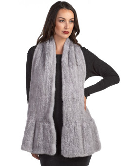 Nyla Flared Knit Mink Fur Scarf in Grey