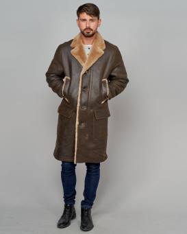 Oakly Shearling Sheepskin Car Coat for Men