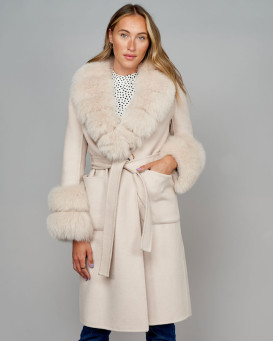 October Wool Wrap Coat with Fox Fur Trim in Stone
