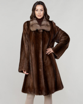 Olga Long Hair Mink Fur Coat with Sable Fur Trim in Brown