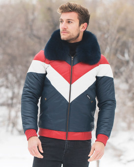 Oliver Color Block Genuine lamb Nappa Leather Bomber Jacket with Navy real Fox Fur Collar
