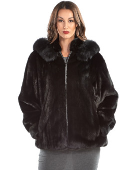 Paislee Long Hair Mink Zip Jacket with Black Fox Trim Hood