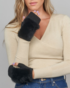 Palmer Knit Fingerless Gloves with Rabbit Fur in Black