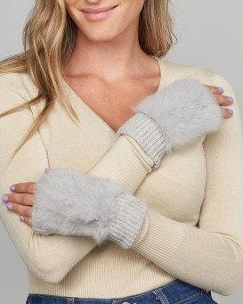 Palmer Knit Fingerless Gloves with Rabbit Fur in Grey