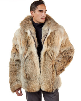 The Hudson Mid Length Coyote Fur Coat for Men