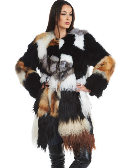 Patchwork Multi Fur Coat