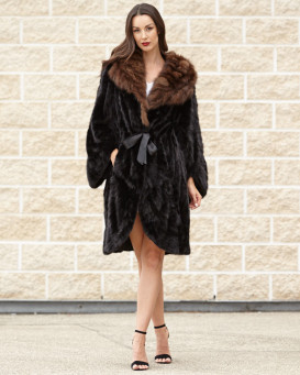 Perla Long Hair Mink Fur Princess Coat with Sable Fur Trim