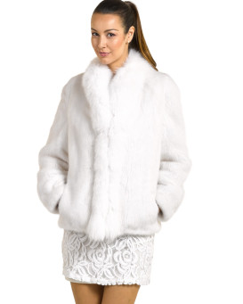Peyton Long Hair Mink Jacket with White Fox Tuxedo Collar
