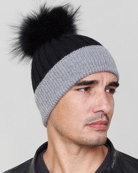 Phoenix Knit Beanie Hat with Finn Raccoon in Black/Grey for Men
