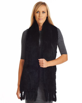 Piper Black Knit Rex Rabbit Fur Scarf with Tassels