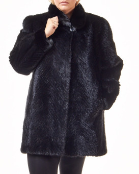 Plus Size Anastasia Black Sculpted Mink 3/4 Length Coat