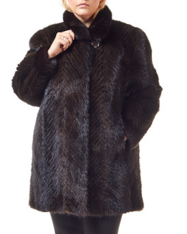 Plus Size Anastasia Mahogany Sculpted Mink 3/4 Length Coat