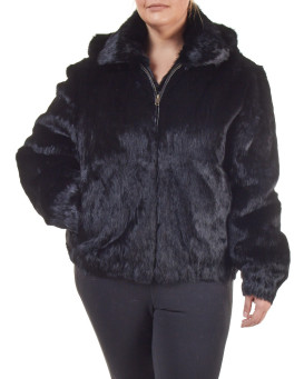 Plus Size Frances Black Rabbit Fur Bomber Jacket with Hood