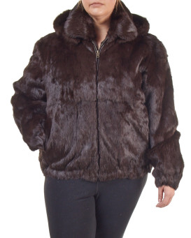 Plus Size Frances Brown Rabbit Fur Bomber Jacket with Hood