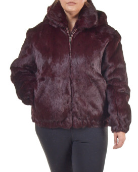 Plus Size Frances Burgundy Rabbit Fur Bomber Jacket with Hood