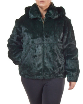 Plus Size Frances Evergreen Rabbit Fur Bomber Jacket with Hood