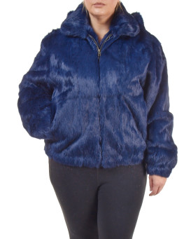 Plus Size Frances Navy Rabbit Fur Bomber Jacket with Hood