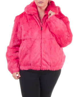 Plus Size Frances Pink Rabbit Fur Bomber Jacket with Hood