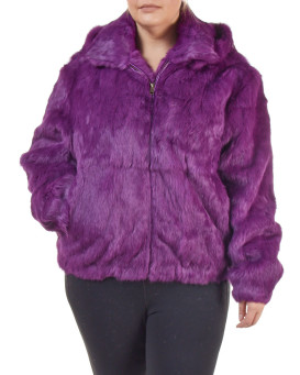 Plus Size Frances Purple Rabbit Fur Bomber Jacket with Hood
